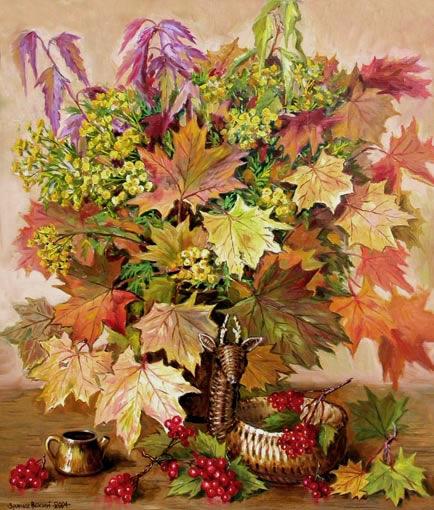 Кленовые листья и пижма