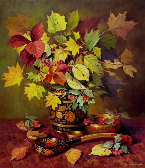 Осенние листья и хохлома